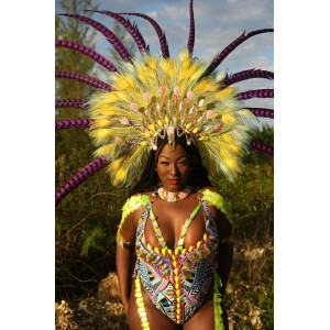 HYPNOTIC MAS JUNGALISS ONE PIECE WITH FEATHERED HEADPIECE